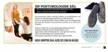 Viser en annonce for postoruologiske såler som afhjælper skæv kropsholdning. Sålerne kan bestilles hos Aku-Fysio Klinike i forbindelse med et postuologisk tjek.